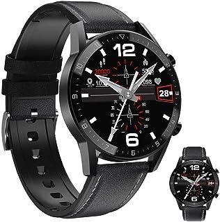 APCHY Reloj Inteligente, Rastreador De Fitness Negro para Hombres con Pantalla Grande De Retina Que Puede Monitorear El Ejercicio del Sueño con Frecuencia Cardíaca,Negro