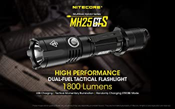 NITECORE MH25GTS NITECORE MH25GTS USB Rechargeable Tactical Flashlight LED Torch 1800LM + Battery,