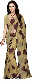Ishin Women's Poly Georgette Printed Saree With Blouse Piece