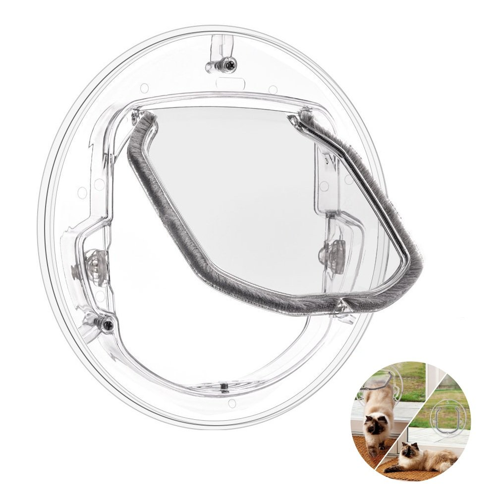Ventana puerta de mascota de 4 vías con cerradura para gato, cachorro perro puerta con cerradura, puerta redonda transparente para ventana de pantalla puerta corredera de cristal ventana de cristal: Amazon.es: Productos