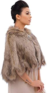 Nicute Women's Fur Wraps and Shawls Faux Fur Scarves Bridal Fur Stole Accessories with Brooch for Bride and Bridemaids (Br...