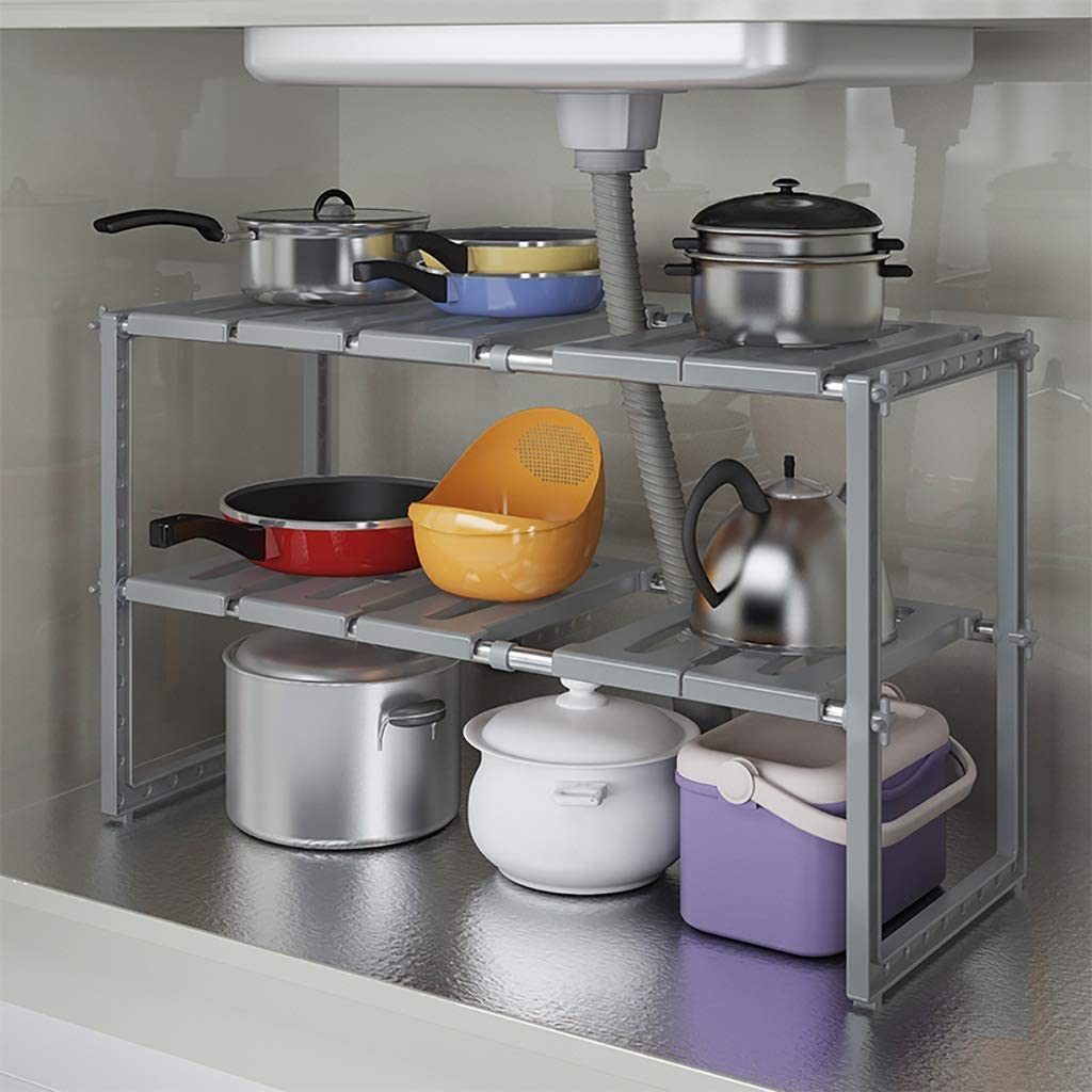 MKKM Household Kitchen Storage price Shelf The 2 Expandable Tier Sales for sale Under