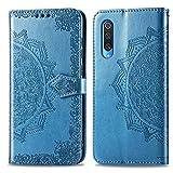 Bear Village Hülle für Xiaomi MI 9, PU Lederhülle Handyhülle für Xiaomi MI 9, Brieftasche Kratzfestes Magnet Handytasche mit Kartenfach, Blau