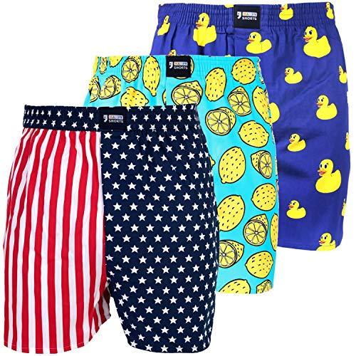 Happy Shorts 3 Webboxer Herren Boxer Motiv Boxershorts Farbwahl, Grösse:M - 5-50, Präzise Farbe:Design 1