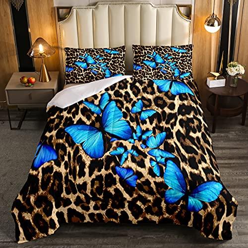 Juego de edredón con estampado de leopardo, juego de cama de 3 piezas para niños y niñas con diseño de mariposa, color marrón, edredón de microfibra con 2 fundas de almohada, tamaño King