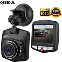 QEBIDUL Mini Dash Cam Car DVR Dashboard Camera Dashcam Full HD 1080P Rechargeable 170 Degree Wide Angle Motion Detection Infrared Night Vision G Sensor Driving Recorder With Parking Monitoring