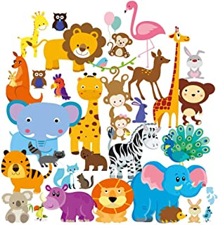 Wall Decals - Safari Adventure Decorative Peel & Stick Animal Wall Art Sticker for Baby's & Kids Room, Nursery and Playroom - 55 PCS