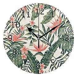 Bardic Lmuchen Wall Clock Tropical Palm Leave Flower Non Ticking Round Art Clock Lightweight Vintage Silent Atomic Analog Kitchen Clock 9.8x9.8 inch