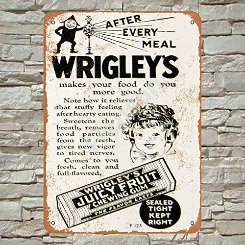 Henson 1925 Wrigley's Kauwgom Traditionele Vintage Tin Teken Logo 12 * 8 Advertising Eye-Catching Muurdecoratie