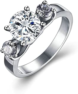 ANAZOZ Stainless Steel 3 Austrian Crystal Women Wedding Band Promise Rings Engrave Service