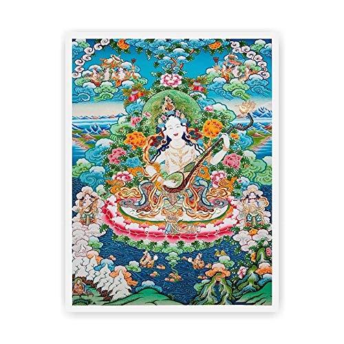GuoQiang Zhou Murales religiosos tibetanos Thangka budista sin marco pintura cultural color: 01, tamaño: 25 x 33 cm, sin marco