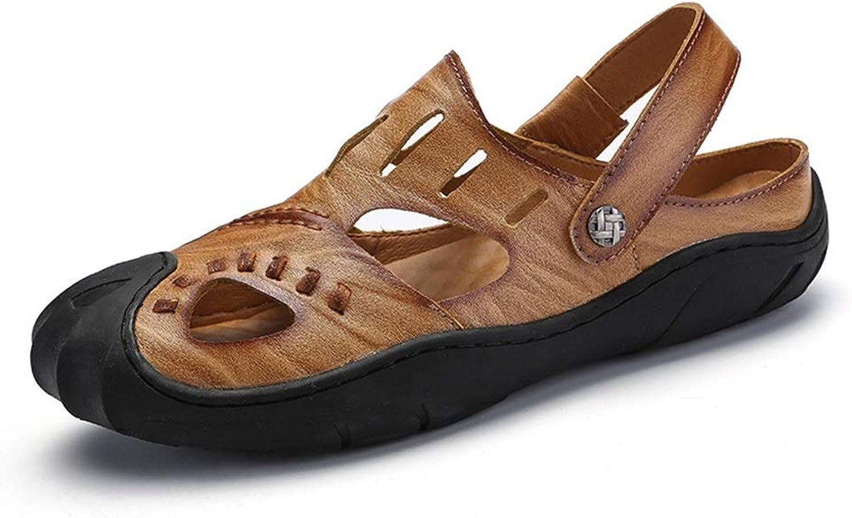 Men's Fashion Sneaker Breathable Casual Outdoor Leather Non-Slip Beach shoes Men's Leather Baotou Sandals Breathable