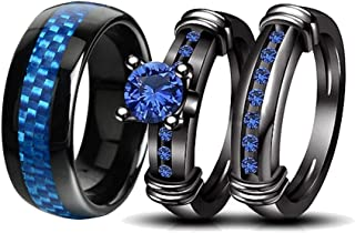 Couple Rings Black Men Stainless Steel Matching Band Women Black Gold Filled Blue CZ Engagement Wedding Sets