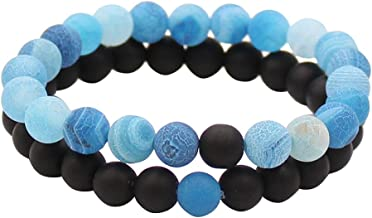 UEUC Distance Couple Bracelet His and Hers Black Matte Agate & White Stone 8mm Beads Bracelet