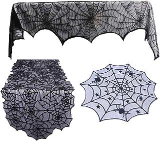 Amosfun 3 Piezas de Mantel de Halloween telaraña Chimenea Chimenea Mesa de Encaje decoración de Fiesta