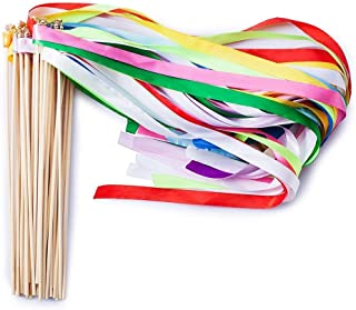 Ribbon Wands Mix Color Chromatic Silk Ribbon with Bells Fairy Stick Wish Wands for Wedding Party Activities (Pack of 20)