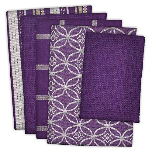 DII Cotton Oversized Kitchen Dish Towels 18 x 28' and Dishcloth 13 x 13', Set of 5 , Absorbent Washing Drying Dishtowels for Everyday Cooking and Baking-Eggplant