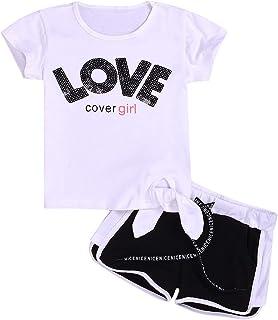 2747c4e9d Puseky 2 unids/Set niños bebés niñas Letra Blanca Love Shorts Manga  Camiseta + Shorts
