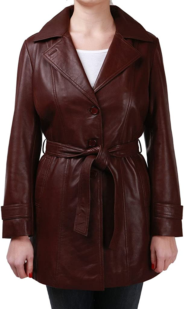 Max Albuquerque Mall 57% OFF Infinity Women's ¾ Long Brown Leather Trench Belt with Tie Coat