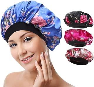 4 Pack Soft Satin Sleeping Cap Wide Band Salon Bonnet Silk Night Sleep Hat Hair Loss Cap for Women, 4 Styles