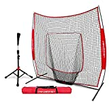 PowerNet Baseball Softball Practice Net 7x7 with Deluxe Tee (Red) | Practice Hitting, Pitching, Batting, Fielding | Portable, Backstop, Training Aid, Large Mouth, Bow Frame | Training Equipment Bundle