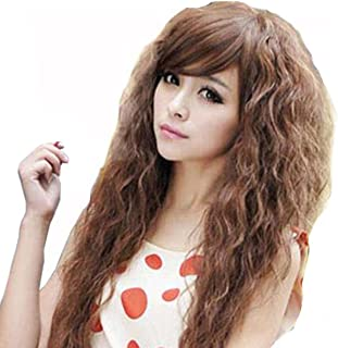 TopWigy Long Curly Wave Wigs Synthetic Hair Oblique Bang Cosplay Party Wig 18