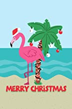 Merry Christmas Pink Flamingo Santa Hat Daily Writing Journal Paper: To Do List Notebook Planner, 130 Lined Pages 6 x 9 School Teachers, Student Exercise Subject Book, Tropical Beach Vacation