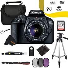 $289 Get Canon EOS 4000D / Rebel T100 18.0 MP SLR - (Black) w/ 18-55mm DC III Lens + Sunshine Advanced Bundle (International Version)