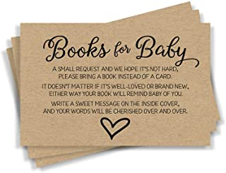 50 Gender Neutral Kraft Baby Shower Book Insert Request Cards (50-Cards)
