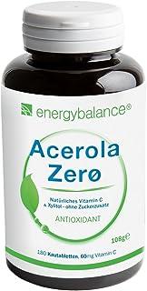ACEROLA Zerø vitamina C natural 60mg | vegano | sin OGM | sin aditivos | natural | a los niños les encanta | 180 pastillas para chupar
