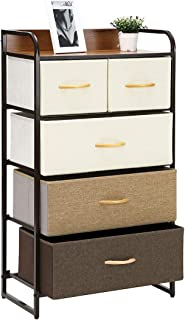 Kamiler 5-Drawer Dresser Storage, Chest Organizer with 4-Tier Tower Unit for Bedroom/Closets/Hallway/Entryway/Laundry Room, Sturdy Steel Frame, Wooden Top, Removable Fabric Bins