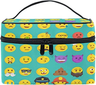 Makeup Bag, Funny Cartoon Emoji Portable Travel Case Large Print Cosmetic Bag Organizer Compartments for Girls Women Lady