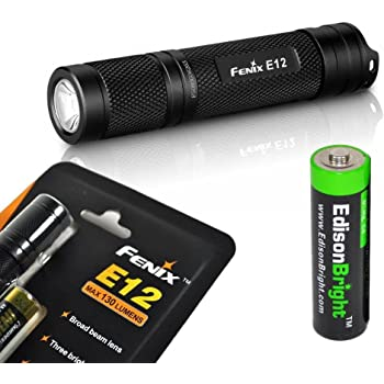 Fenix E12 CREE XP-E2 130 Lumen LED flashlight with EdisonBright AA alkaline battery. Upgraded from E11