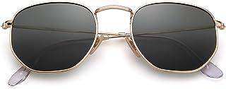 ADEWU - Gafas de sol cuadradas polarizadas con lente espejada y marco hexagonal unisex