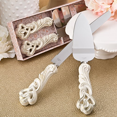 Fashioncraft Double Heart Vintage Cake Server and Knife Set – Wedding Favor, Wedding Cake Set, Ivory Color with Antique Finish
