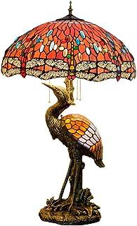 QGL-HQ Tiffany Style mâle Grue Lampe de Bureau, 50CM Verre de Couleur Rouge Perles, Veilleuse Convient for la décoration i...