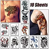 Arm temporäre Tattoos,10 Blätter Tattoo Aufkleber Fake Arm Tattoos Sticker,Temporär Tätowierung schwarz Klebe Tattoo Körperkunst Aufkleber Fake Arm Tattoos Sticker für männer Frauen