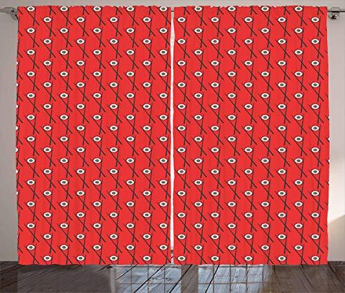 ABAKUHAUS Sushi Gordijnen, Maki Rolls met stokjes, Woonkamer Slaapkamer Raamgordijnen 2-delige set, 280 x 245 cm, Charcoal Grey Vermilion