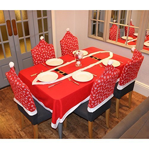 Robelli Juego de 6 Fundas para Silla de Navidad, diseño de Copo de Nieve