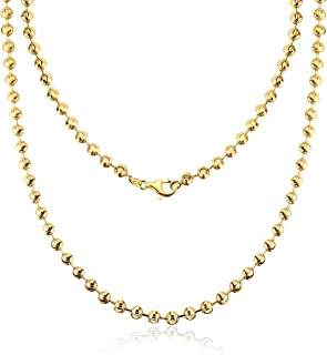AINUOSHI 2.0-5.0mm Solid 925 Italy Moon Cut Chain Necklace Yellow Gold Plated Sterling Silver Bead Ball Chain Necklace for Men & Women, 16-28 Inches