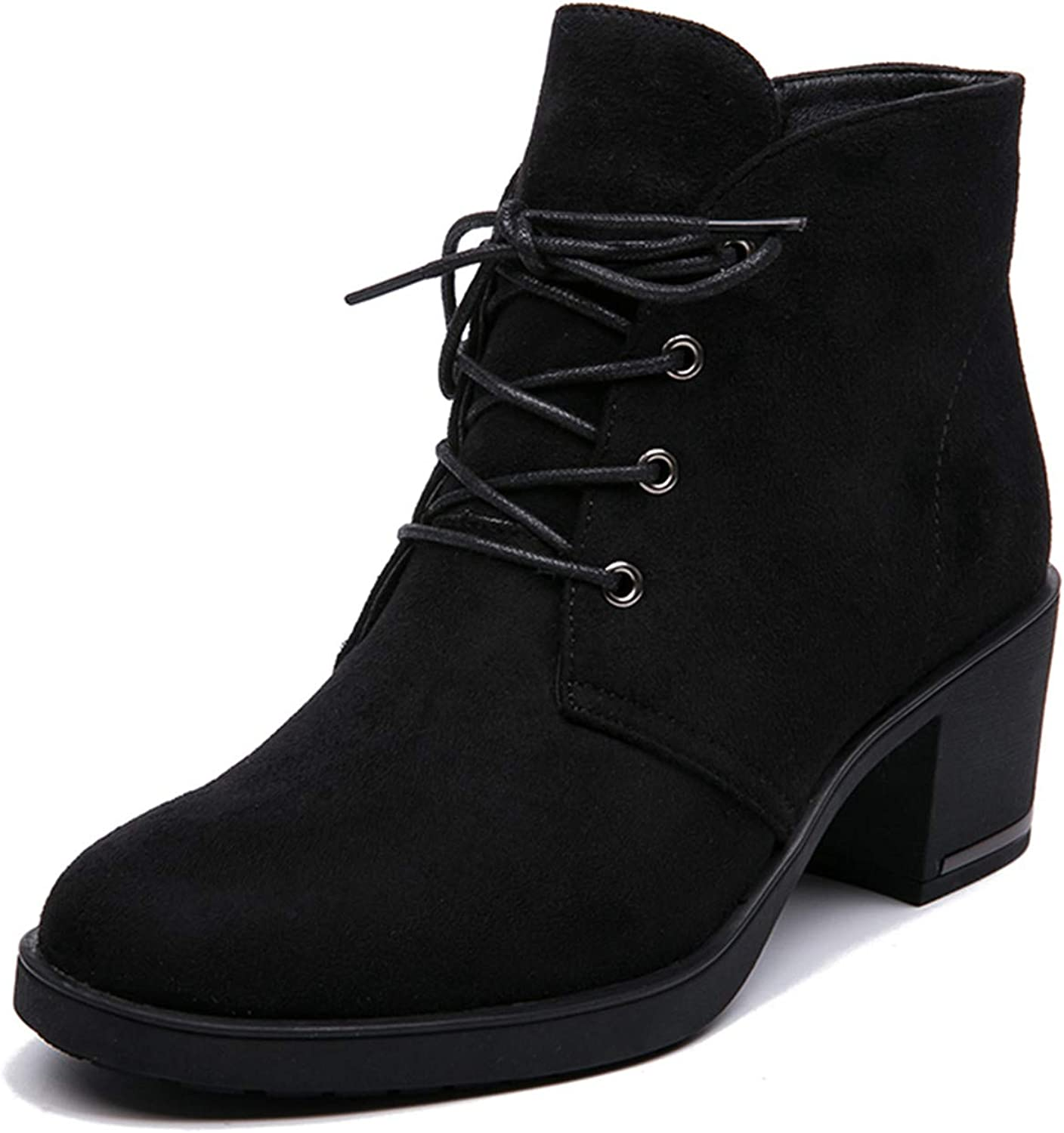 Spring Autumn Women Ankle Boots Suede Leather Short Booties Lace Up Boots Women with Fur shoes