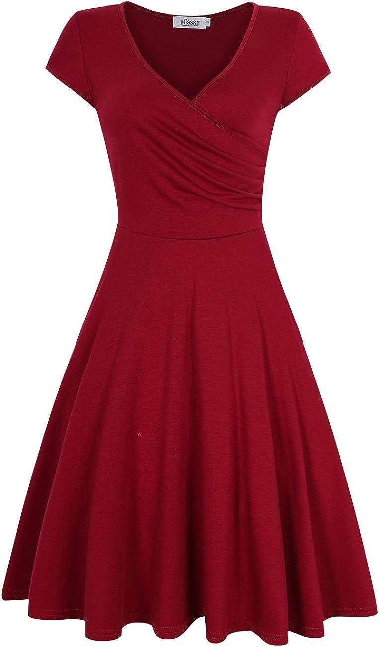 MISSKY Women's Cross V-Neck Slim Knee Length Swing Elegant Casual Dress