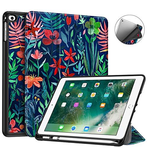 Fintie SlimShell Hülle für iPad 9.7 2018 - Superleicht Soft TPU Rückseite Abdeckung Schutzhülle mit eingebautem Apple Pencil Halter, Auto Schlaf/Wach für iPad 6. Generation, Dschungelnacht