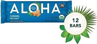 ALOHA Organic Plant Based Protein Bars  Caramel Sea Salt   12 Count, 1.9oz Bars   Vegan, Low Sugar, Gluten Free, Paleo, Low Carb, Non-GMO, Stevia Free, Soy Free