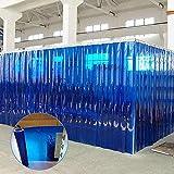 Cortina De Tiras, Barrera De Soldadura De PVC De 1,5 Mm De Espesor Aislamiento Antiestático Con Herrajes De Acero Inoxidable Adecuado Para Fábricas, Almacenes, Congelad(Size:8pcs 1.2x2.1m,Color:Azul)