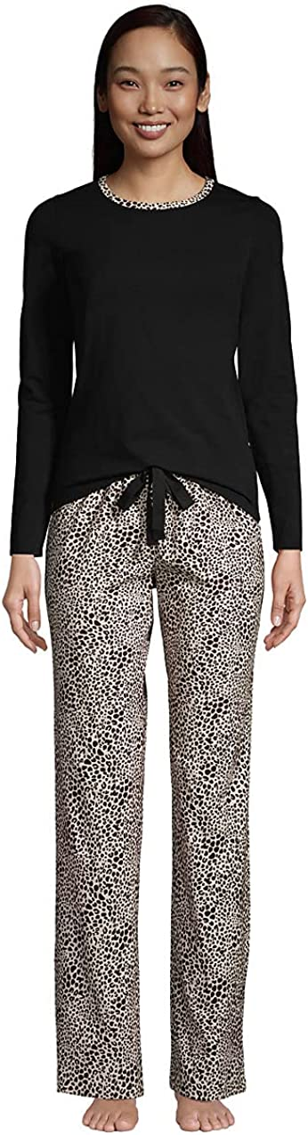 Lands' End Women's Ranking TOP12 Knit Pajama Set Long Max 59% OFF Pants T-Shirt and Sleeve
