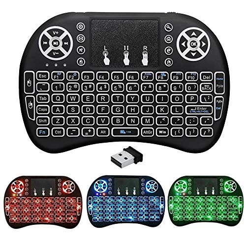 BIFANS 2.4G Mini Wireless Keyboard with Touchpad Mouse, Upgraded Multi Backlit, Portable Wireless Keyboard with USB Receiver Remote Control, Best for Android Smart TV Box HTPC Pad Xbox Windows Mac