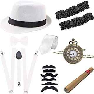 1920s Mens Gatsby Gangster Costume Accessories Set Roaring 20s Accessories
