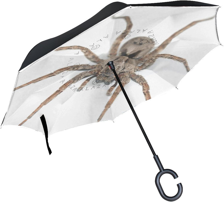 Animal Monkey Spider Fluffy Real Yellow Pet Danger Stunning Ingreened Umbrella Large Double Layer Outdoor Rain Sun Car Reversible Umbrella