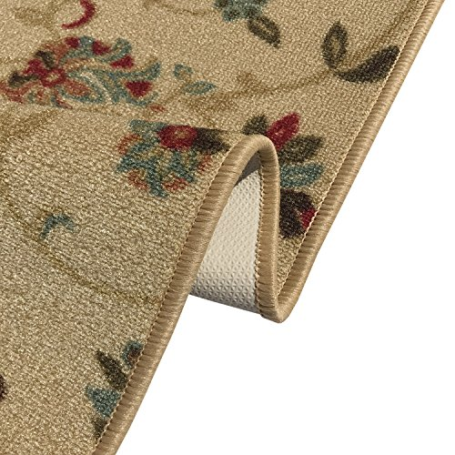 "Kapaqua Rubber Backed Mat 18"" x 31"" Beige Floral Doormat Accent Non-Slip Entry Rug RAN1222-1X2"